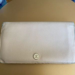 Authentic Chanel beige tan leather long wallet